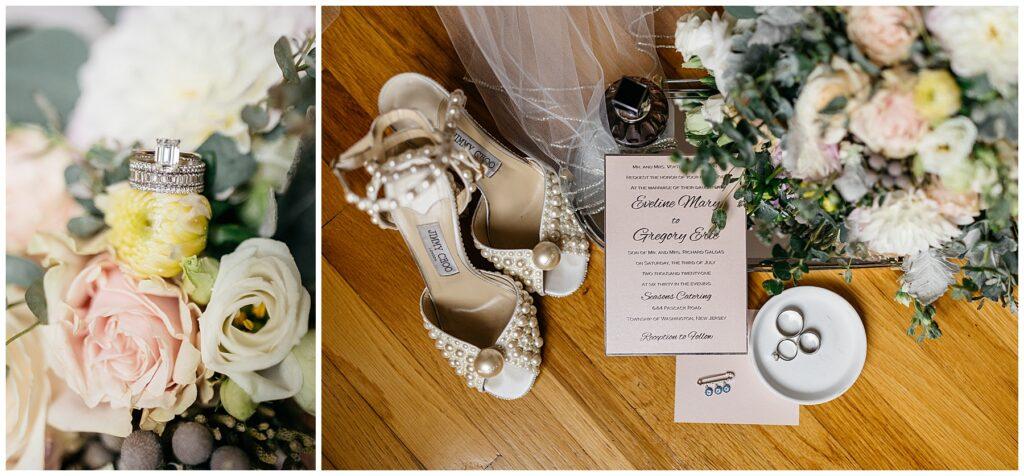 Seasons Catering Wedding, Seasons Catering Wedding Photos, Seasons Catering, New York Wedding Photographer, Ashley Izquierdo, Jimmy Choo Wedding shoes, Wedding flat lays